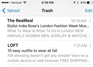 """The RealReal and LOFT, two clothing retailers, use the pre-header to offer fashion tips, instead of pushing a sale. For The RealReal, it's """"What to Wear & What to Do in London."""" For LOFT, it's """"Fall dressing doesn't get any simpler."""""""